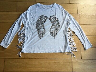 Girls Next Tasselled Top with Angel Wings and sequin Detail age 12 years