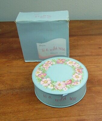 Avon To A Wild Rose Beauty Dust Perfumed Body Powder 6 oz Blue Container, Sealed