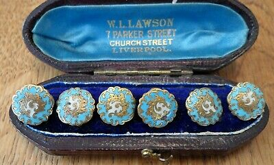 Antique 19Th Century French Turquoise Champleve Enamel Gilt Buttons X 6 Em Paris
