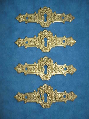 "4- Vintage Ornate Cast Solid Brass Figural 4.5"" KEYHOLE COVER PLATES..Never Used"