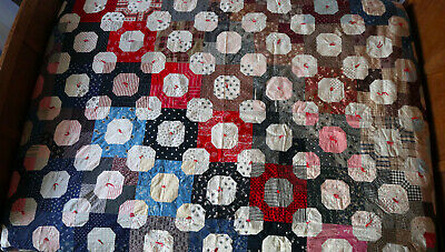 2 In 1- Antique Quilt Civil War Snowball Tied On Top Of Finely Quilted Stars