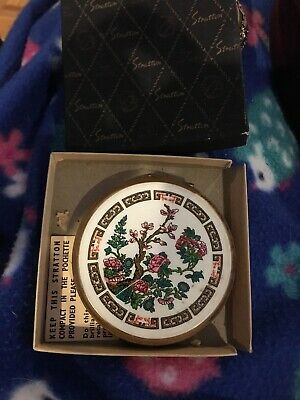 Vintage 1960s Enamel & Brass Stratton Compact Floral Mirror Made England