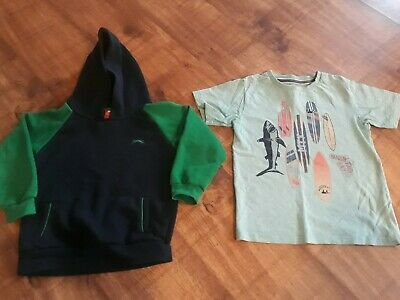 Boys Hoodie Jumper and Tshirt Bundle, x 2 items, size aged 5 - 6 years