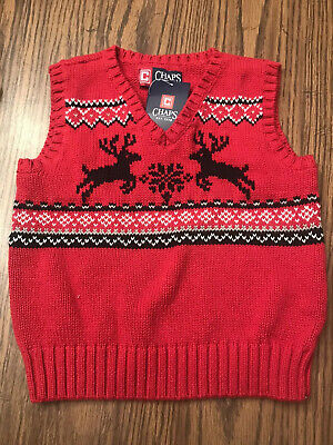 NWT CHAPS RED CABLE KNIT V-NECK SWEATER VEST Size 3T 3
