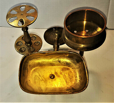Antique vintage bathroom wall mount solid brass soap dish toothbrush cup holder