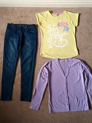 Girls Jeans With Top And Cardigan Size  11-12 Years