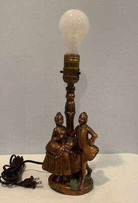 Antique Victorian Cast Copper Bronze Table Lamp With Man & Woman Holding Hands