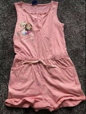 Disney Princess Frozen Elsa & Anna Girls Pink All In One Outfit Age 6-7 Years