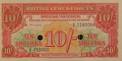 ND UK Great Britain 10 Shillings UNC 1956 British Armed Forces P-M28b