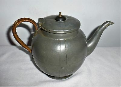Vintage antique old Baronial Pewter hand made hammered Tea / Coffee pot