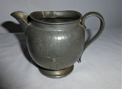 Vintage antique old Baronial Pewter hand made hammered cream / milk jug pot