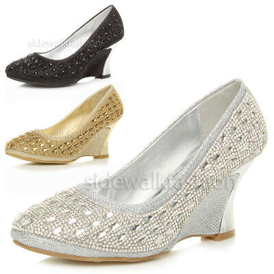 Womens ladies mid heel metal curved wedge evening diamante court shoes size