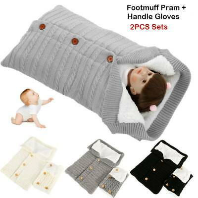 Baby Pushchair Stroller Footmuff Knitted Wool Cosy Toes Liner Handle Gloves Set