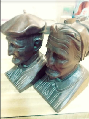 Vintage J. Alberdi Carved Wooden Old Man and Old Woman Bookends