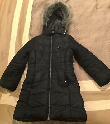 CALVIN KLEIN Jeans CK Girls Kids Black Winter Hooded Puffer Coat Lined