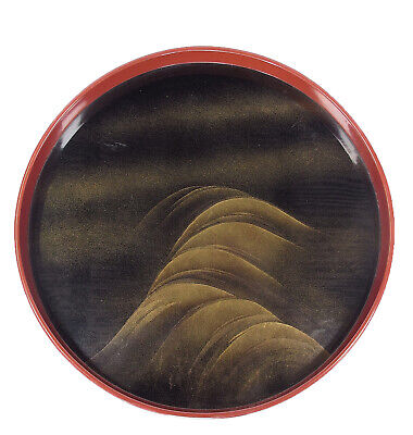 Vintage Japanese Lacquer Serving Tray Obon Wave Makie
