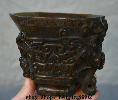 "6"" Old Marked Chinese Palace Ox Horn Hand-Carved Beast Handle Drink Wine Cup"