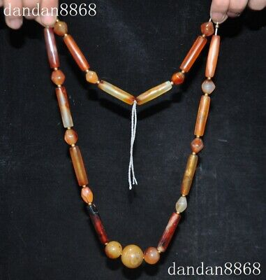 "15"" old Chinase exquisite natural agate Hand-carved jewelry bead torque necklace"