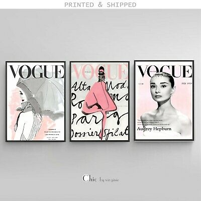 VOGUE Cover Posters - Set of 3 Prints - Audrey Hepburn - 1 FREE Print Included