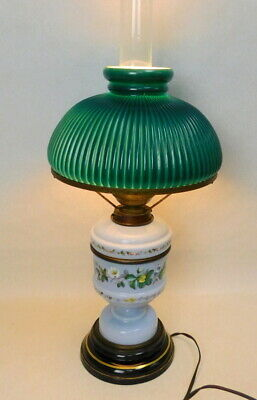 Antique Victorian HINKS hand painted opaline hurricane parlor student lamp