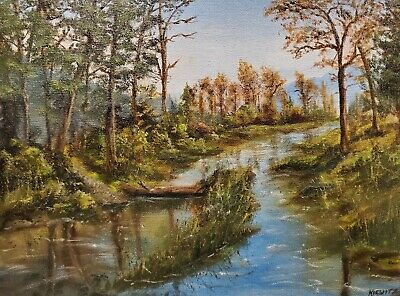 """Original Oil Painting LANDSCAPE Stream on Canvas Hand Painted By KIEWITZ 9"""" x 12"""