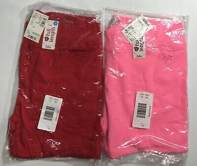 NWT Girls JUSTICE Leggings Lot~18~Solid Red & Pink~Cotton Spandex Stretch~Tunic