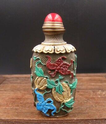 Collectible 100% Handmade Carved  Painting Brass Snuff Bottles NO-12