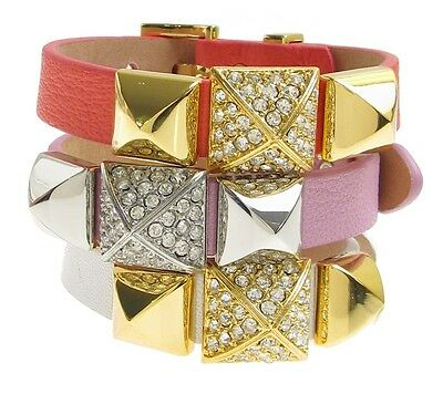 Juicy Couture Pave Pyramid Stud Leather Wrap Buckle Cuff Bracelet