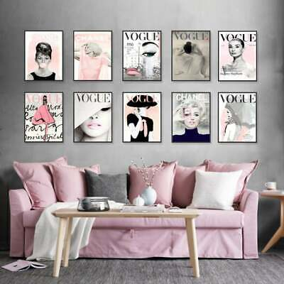 VOGUE & CHANEL Posters - Set of 6 Fashion Wall Art  - 1 FREE Print Included !