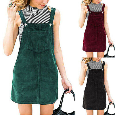 Women Ladies Pocket Pinafore Dungaree Mini Skater Corduroy A-Line Dress NEW 2020