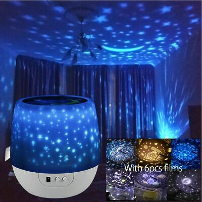 LED Night Star Sky Projector Light Lamp Rotating Starry Baby Room Birthday Gifts