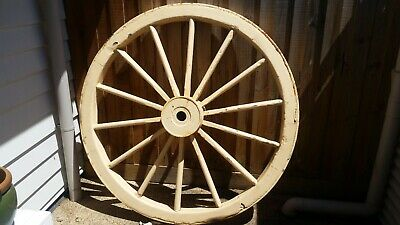 Very Large Antique Wooden Wagon Wheel