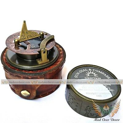 Antique Style Elliot Bro Brass Sundial Compass With Leather Case Marine Gift.