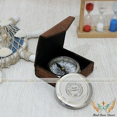 Vintage Nautical Solid Brass Compass With Leather Cover Collectible Gift Item