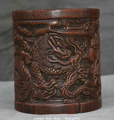 """6"""" Old Chinese Ox Horn Carved Dynasty 2 Dragon Play Bead Brush Pot Pencil Vase"""