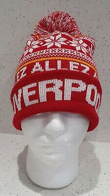 Liverpool Bobble Hat - Red, White and Yellow Snowflake Style Hat - Onesize