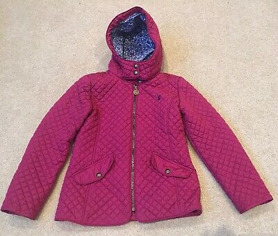 Girls Joules Marcotte Pink Quilted Coat Hooded Age 9-10 Years