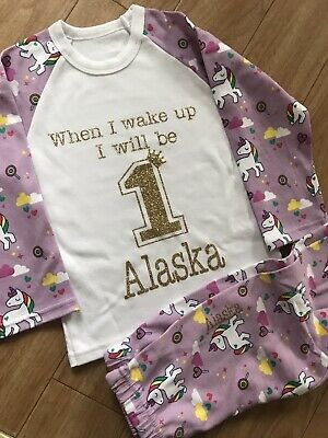 When I wake Up I Will Be 1 Pyjamas Aged 2-3 Years Girls Personalised Pjs Unicorn