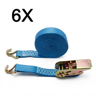 6X Lashing Strap Tension Belt 0.8T 2-tlg Ratchet Lorry 6m x 0 31/32in 800kg