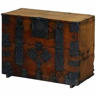 Rare Chinese Circa 1840 Campaign Chest Ornate Metal Work Swastika Well Being
