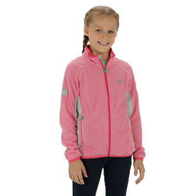 Regatta Pira Kids Boys Girls Lightweight Warm Full Zip Fleece Jacket Pink
