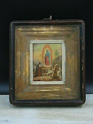 Antique 19th  Russian Hand Painted Wooden Icon Pochaevskaja, wooden kiot.