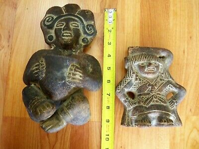 Pre-Columbian Style Clay Mexico Folk Art Pottery Inca Aztec Mayan Figurines (2)