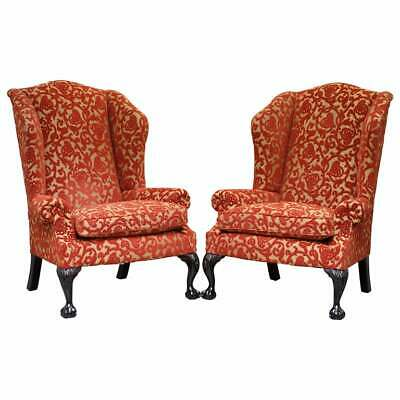 Rrp £9378 Pair Of George Smith Chelsea Large Wingback Armchairs Claw & Ball Feet