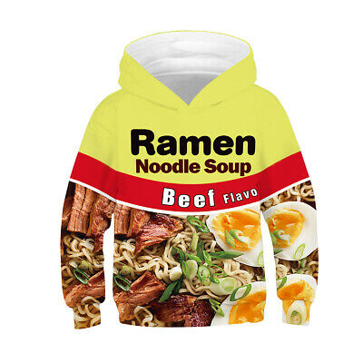 Childrens Kids Girls Boys Unisex Cute Beef Ramen Noodle Sweatshirt Hoodie