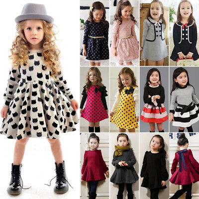 Kid Baby Girl Winter Dress Long Sleeve Princess A-Line Tutu Skater Party Dresses