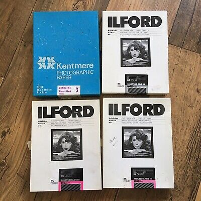 4 pack bundle B&W darkroom paper 6 1/2 x 8 1/2 Inches ilford