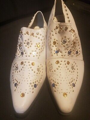 Vintage Elvis boots, western boots,white with studs, in excellent condition