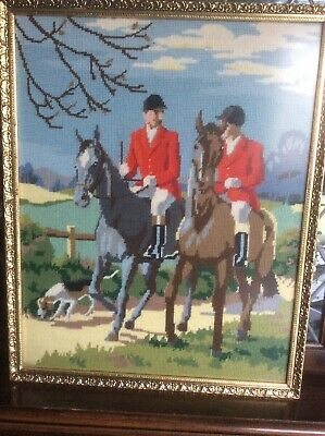 Fabulous Vintage Tally Ho tapestry of Horses In Antique Gold Gilt Frame 60 X 50