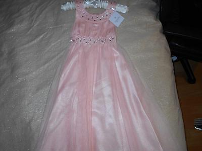 Tigerlily Designer Peach Organza Crystals Sparkly Party / Bridesmaid Dress Age 8